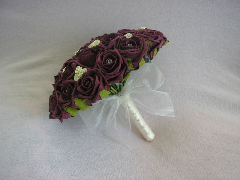 ARTIFICIAL WEDDING FLOWERS BURGUNDY IVORY FOAM ROSE BRIDE WEDDING     ARTIFICIAL WEDDING FLOWERS BURGUNDY IVORY FOAM ROSE BRIDE WEDDING BOUQUET  POSIE